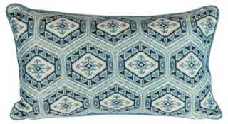 Medallion Embroidered Blue Ikat Pillow - One Kings Lane