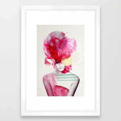 "Bright Pink - Part 2 / FRAMED ART PRINT / VECTOR WHITE SMALL (15"" X 21"") - Society6"