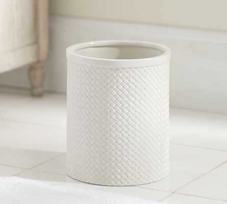 Porcelain Basketweave Accessories -  Wastebasket: - Pottery Barn