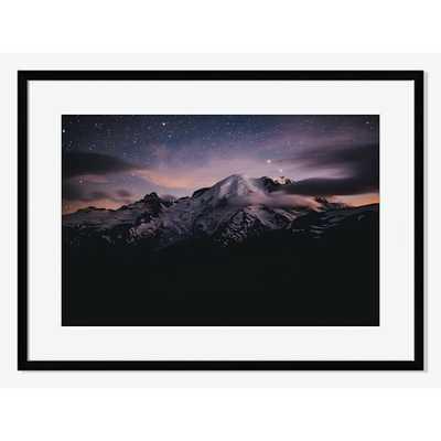 "Mt. Rainier Night Sky Print - 38"" x 27"" - Black Frame with Mat - West Elm"