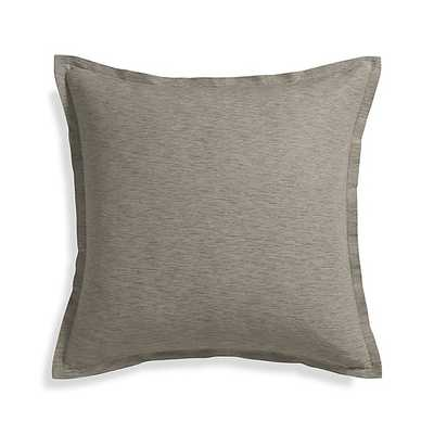 "Linden Mushroom Grey 23"" Pillow with Feather-Down Insert - Crate and Barrel"