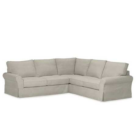 PB Comfort Roll Arm Slipcovered 3-Piece L-Shaped Sectional - Pottery Barn