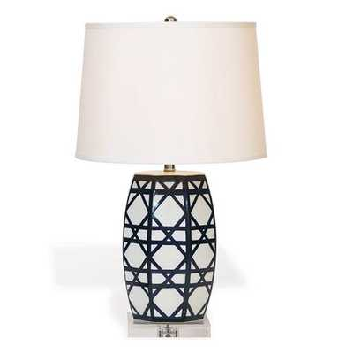Contemporary Blue White Lattice Porcelain Gazebo Lamp - Kathy Kuo Home