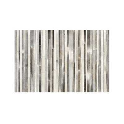 Fonda Grey Striped Cowhide Rug - 9x12 - Crate and Barrel