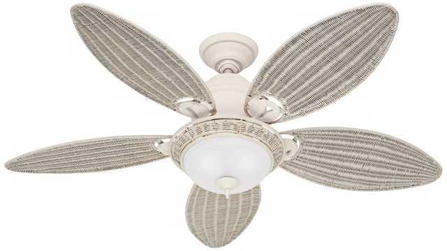 "54"" Hunter Caribbean Breeze White Ceiling Fan - Lamps Plus"