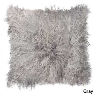"Mongolian Sheepskin Pillow - 18"" x 18"" - Polyester fill - Overstock"