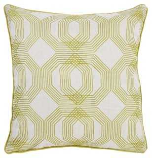 Kyoto 22x22 Cotton-Blended Pillow, Green - One Kings Lane