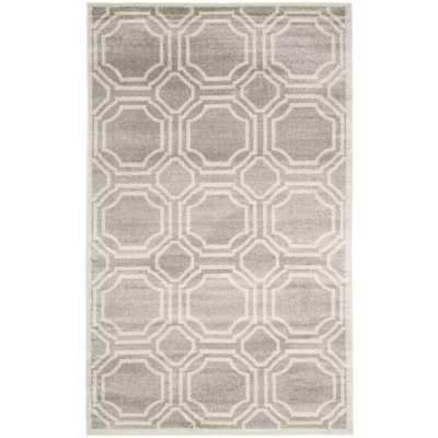 Safavieh Indoor/ Outdoor Amherst Light Grey/ Ivory Rug (10' x 14') - Overstock