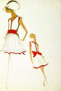 Balmain Fashion Sketch Red, C. 1960 - One Kings Lane