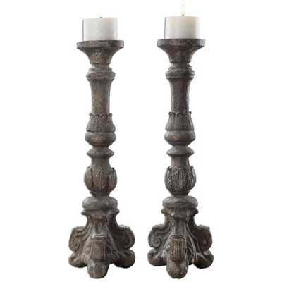 Bastia French Country Antique Grey Candle Stick - Set of 2 - Kathy Kuo Home