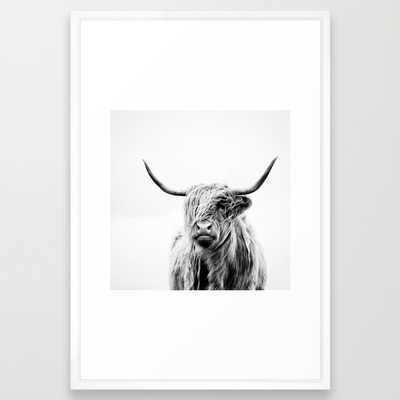 "Portrait of a highland cow - 26"" x 38"" - Framed - Society6"