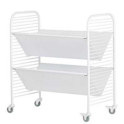 Linear Book Cart (White) - Land of Nod