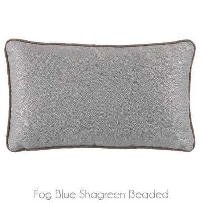"""Fog Blue Shagreen Beaded Lumbar Pillow- 13"""" x 22""""  -  Feather /Down insert - Candelabra"""