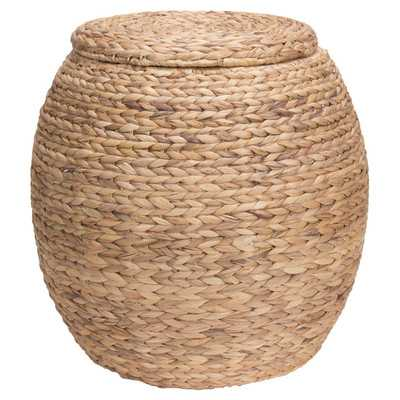Large Round Water Hyacinth Wicker Storage Basket with Lid - Wayfair