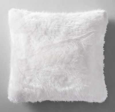 """ULTRA FAUX FUR PILLOW COVER - WHITE -  22"""" SQ. - without insert - RH"""