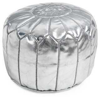 Moroccan Leather Pouf, Silver - One Kings Lane