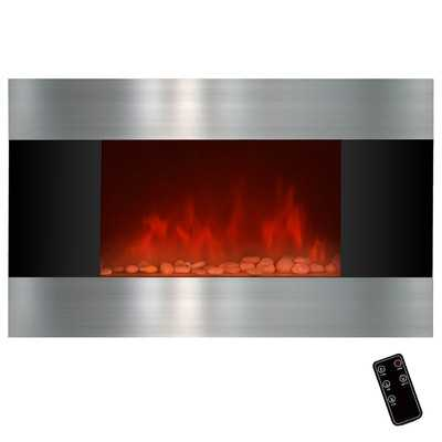 "36"" Wall Mount Stainless Steel and Black Electric Fireplace - Wayfair"