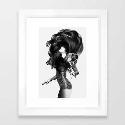 """Bear #3 - FRAMED ART PRINT/VECTOR WHITE MINI (10"""" X 12"""") - Society6"""