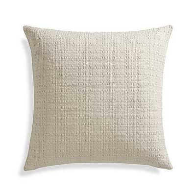 "Hugo 23"" Pillow with Feather-Down Insert, Ivory - Crate and Barrel"