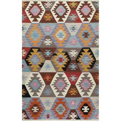 Tribal Elegance Hand-woven Multi Geometric Wool Rug (5' x 7'6) - Overstock