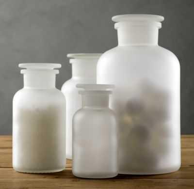 FROSTED GLASS PHARMACY BOTTLES (SET OF 3) - RH