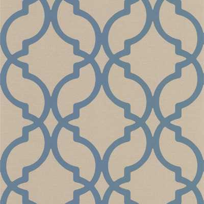 Geometric Embossed Wallpaper - Blue - Wayfair