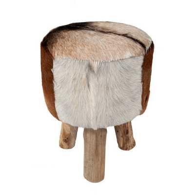Merrill Modern Brown Natural Drum Stool - Overstock