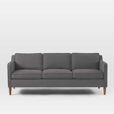 "Hamilton Upholstered 81"" Sofa - Marled Microfiber, Heather Gray - West Elm"
