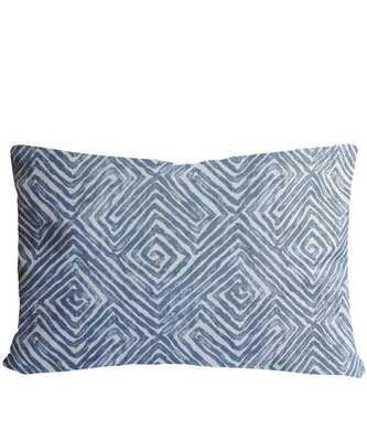 """Cotton Maze Print Lumbar Pillow, Denim - 20"""" x 15"""" - Down insert included - High Street Market"""