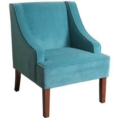 HomePop Dove Grey Velvet Swoop Arm Accent Chair - Wayfair