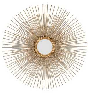 Round Metal Starburst Wall Mirror, Gold - One Kings Lane