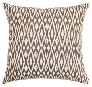 Hafoca 18x18 Cotton Pillow, Chocolate- Feather insert - One Kings Lane