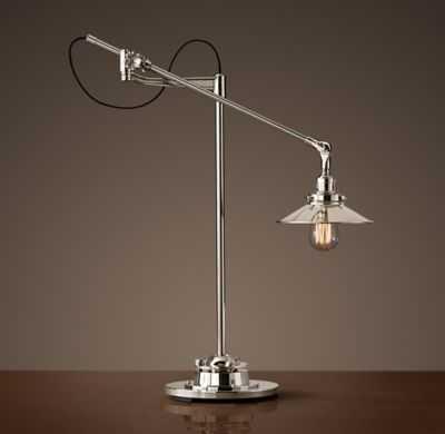 20TH C. FACTORY FILAMENT METAL SHADE TASK LAMP - RH