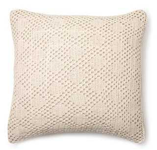 Diamond Crochet Dec Pillow, Natural - One Kings Lane