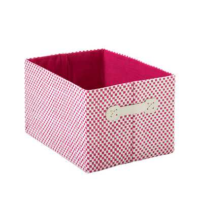 Small Gingham Bin Pink - containerstore.com