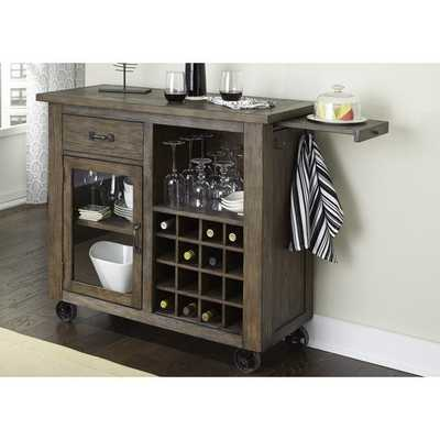 Franklin Rustic Brown and Metal Wine Cabinet - Overstock
