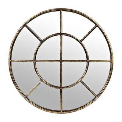 Distressed Gold Metal Pane Round Mirror - kirklands.com