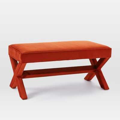Cross Base Upholstered Bench - Luster Velvet, Cayenne - West Elm