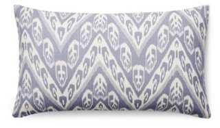 Chevron 14x24 Cotton Pillow, Blue, Feather/Down Insert - One Kings Lane