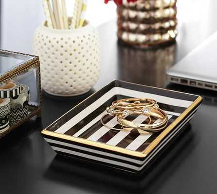 MAGGIE BLACK & WHITE STRIPE CATCHALL - Pottery Barn