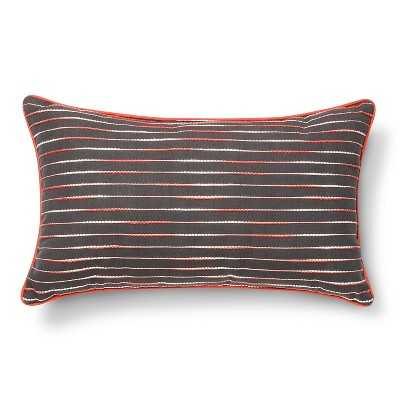 Decorative Stitch Lumbar Pillow - Grey/Red - 12x20 - With Insert - Target