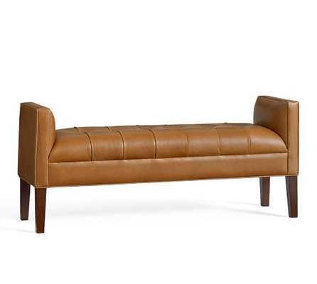 LORRAINE TUFTED LEATHER BENCH - Pottery Barn