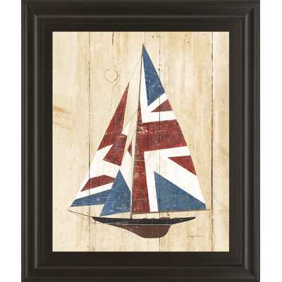 "British Flag Sailboat by Avery Tillmon Framed Painting - 26"" H x 22"" W x 1"" D - Wayfair"