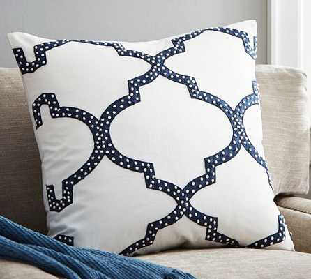 """Dearsley Embroidered Pillow Cover, 24""""Sq, Blue/White,Insert Sold Separately - Pottery Barn"""