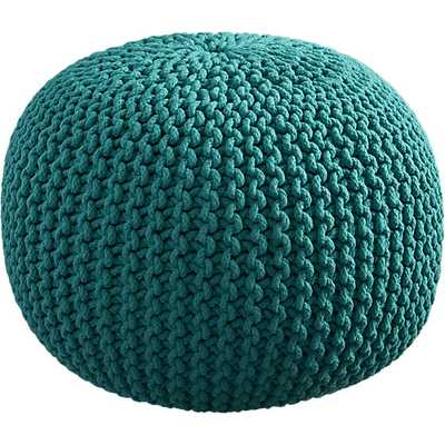 Knitted teal pouf - CB2