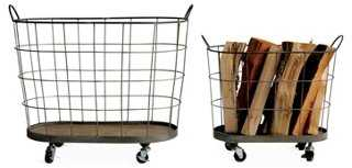 S/2 Rolling Baskets - One Kings Lane