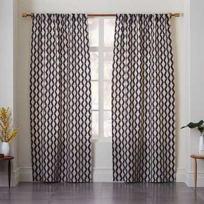 Rhombi Flocked Curtain - West Elm