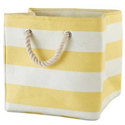 Stripes Around the Cube Bin (Yellow) - Land of Nod