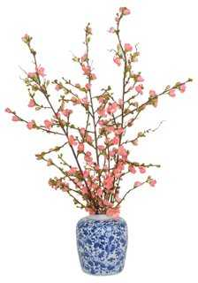 Pink Cherry Blossoms In Vase, Faux - One Kings Lane