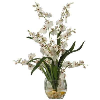 Liquid Illusion Silk White Orchids in Vase - Wayfair